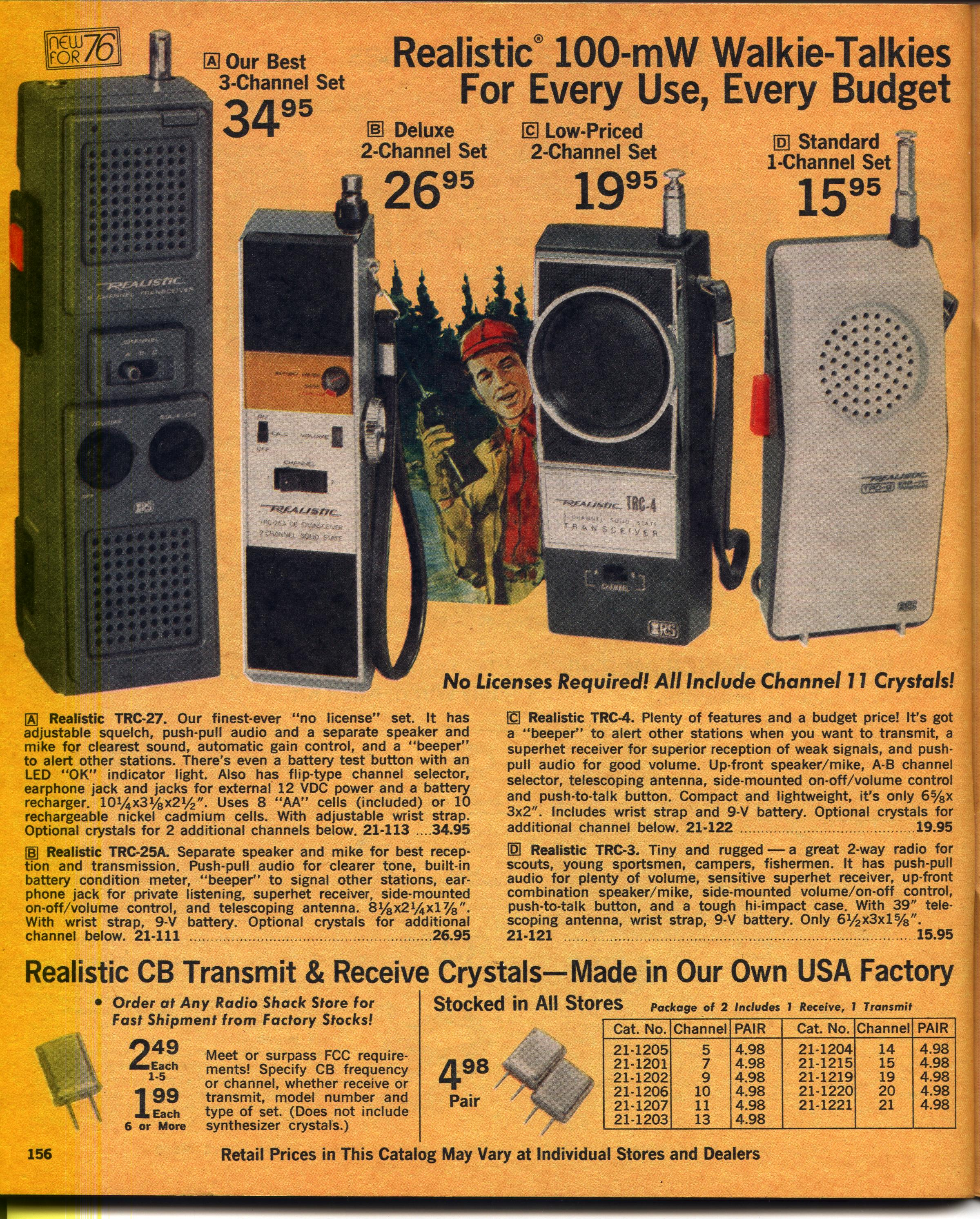 1976 Radio Shack Catalog Cb Section 3 Way Switch Big Walkie Talkies Page 1